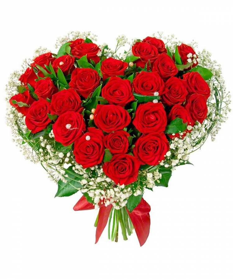 Открытки с большими букетами роз и сердечки